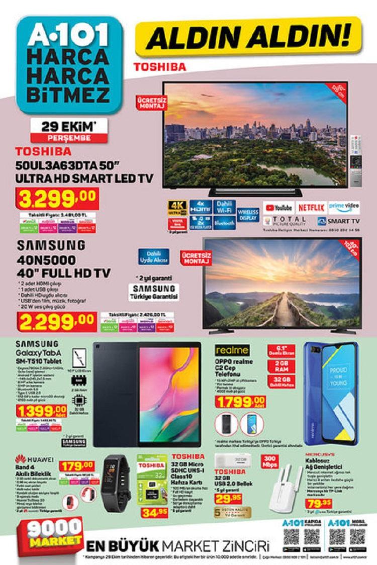 A101'de bu hafta Toshiba Ultra HD Smart LED TV, Piranha Gaming Kulaklık, Huawei Band 4 Akıllı Bileklik, MotoLux F5 Elektrikli Scooter, Oppo Realme C2 32GB Cep Telefonu