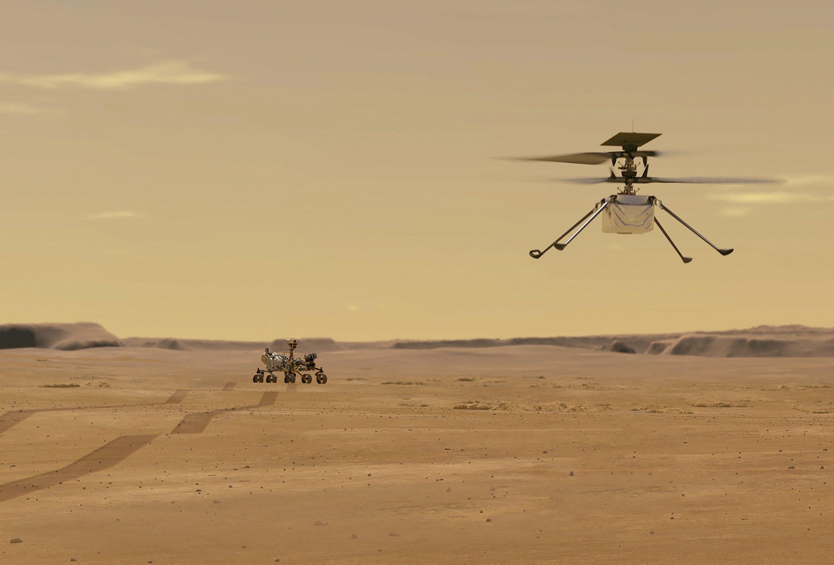 24 Mart 2021'de elde edilen bu NASA fotoğrafı, Mars'taki bir test uçuşu sırasında Mars Helikopteri Zekasını tasvir eden bir çizimi gösteriyor. (AFP aracılığıyla NASA Bildiri Fotoğrafı)